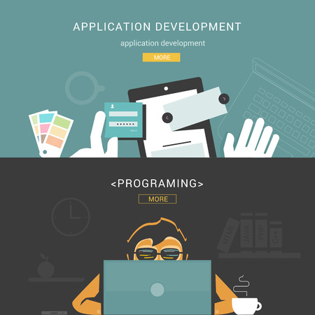 Set of Flat Design Concepts for Web Application Development Vector