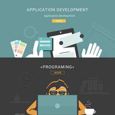 Web アプリケーション開発のための平らな設計概念のセット  イラスト・ベクター素材