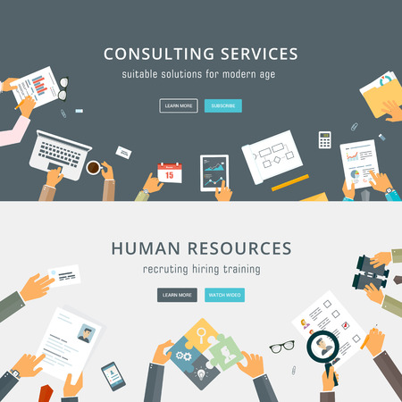 human resource management: Set of Flat Style Designs. Business Concepts.
