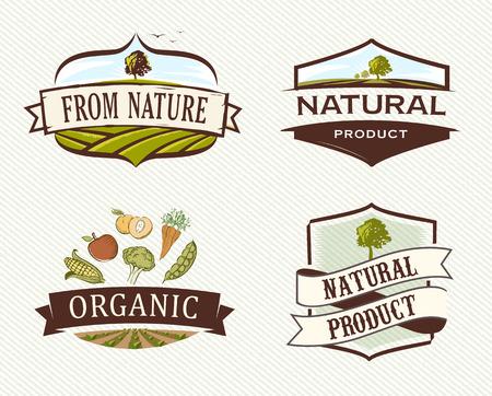 owocowy: Sklepy Retro Oznaczenia ekologiczne Ilustracja