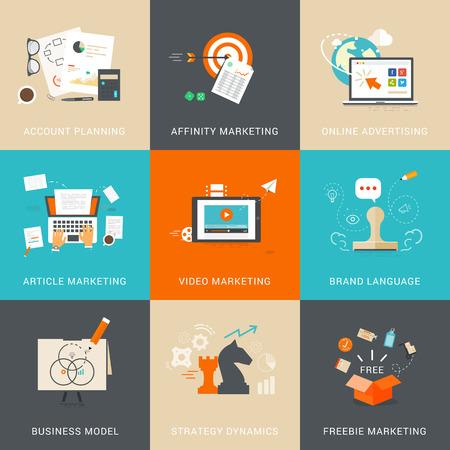 ビジネス & アカウント ・ プランニングのためのマーケティングの概念。アフィニティ マーケティング。オンライン広告。記事のマーケティング。