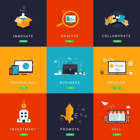 フラット ・ イノベーション ビジネス概念設計されています。分析します。Collaborate.Technology 事業。開発。投資。Promotion.Selling