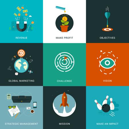 Conceptos de negocio diseñadas Piso en gestión estratégica, misión, hacer un impacto, la visión, el desafío, la comercialización global, objetivos, obtener beneficios, ingresos. negocios, finanzas