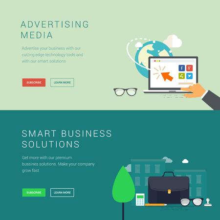 Advertising media en slimme zakelijke oplossing banners Stock Illustratie