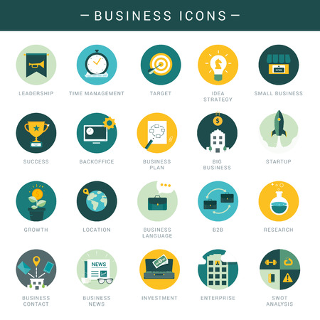 Set of modern business icons Vector