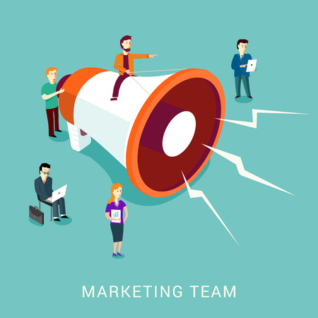 Modern flat design vector concept marking team with a big megaphone. Digital marketing concept. Isometric and isolated on stylish turquoise background