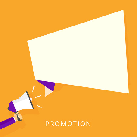 Flat design vector hand holding  megaphone with speech bubble. Promotion and  marketing concept Isolated on stylish orange background.