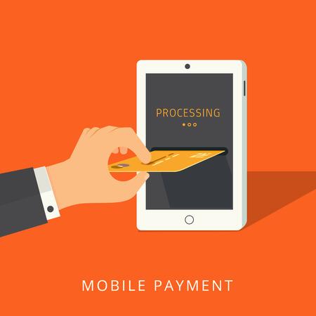 モダンなフラット デザイン モバイルご予約。オンライン決済プロセスの概念。スタイリッシュなオレンジ色の背景に分離
