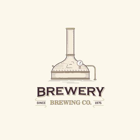 Vintage beer brewery logo template Vettoriali