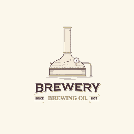 Vintage beer brewery logo template Stock Illustratie