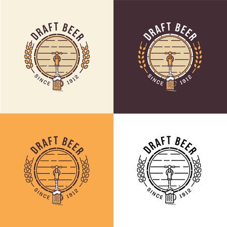 Set of vintage beer logo template Illustration