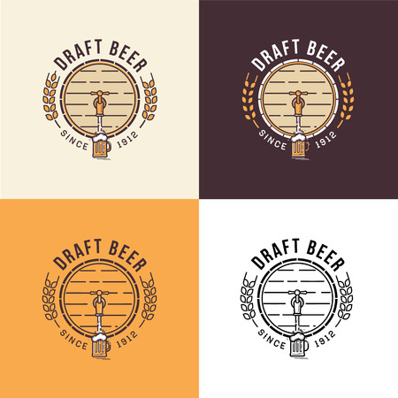Set of vintage beer logo template Ilustrace