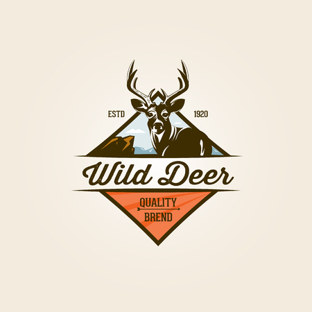 Étiquette vintage nature de cerfs sauvages et logo modèle