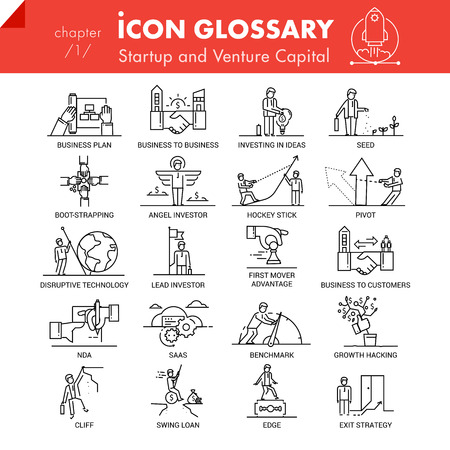 High quality outline icons pack of startup business and venture capital. Flat linear symbol collection. Trendy web graphics