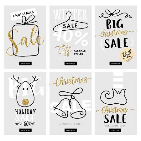 Set van Kerstmis en Nieuwjaar mobiele verkoop banners. Vector illustraties voor online shopping website en mobiele website banners, posters, nieuwsbrief ontwerpen, advertenties, coupons, social media banners.
