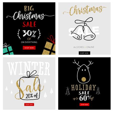 クリスマスと新年のモバイル販売バナーのセットです。オンライン ショッピング サイト、モバイル web サイトのバナー、ポスター、ニュースレター