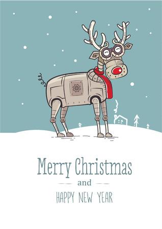面白いトナカイ クリスマス カード  イラスト・ベクター素材