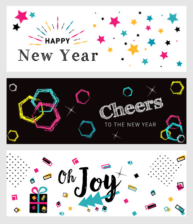 Set of Christmas and New Year social media banners. Hand drawn vector illustrations for website and mobile banners, internet marketing, greeting cards and printed material.