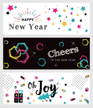 Set van Kerstmis en Nieuwjaar sociale media banners. Hand getrokken vectorillustraties voor website en mobiele banners, internet marketing, wenskaarten en gedrukt materiaal. Stock Illustratie