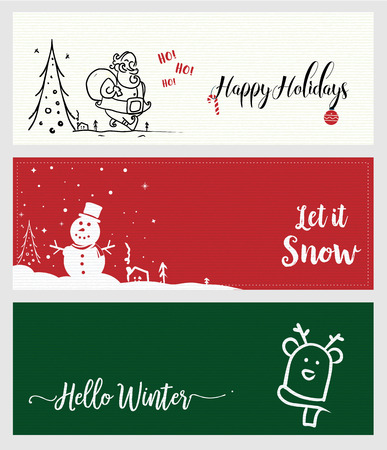 Set of Christmas and New Year social media banners. Vector illustrations for website and mobile banners, internet marketing, greeting cards and printed material design. Ilustração