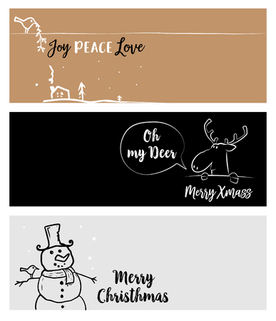 Set of Christmas and New Year social media banners. Vector illustrations for website and mobile banners, internet marketing, greeting cards and printed material design. Ilustrace