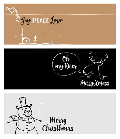 Set van Kerstmis en Nieuwjaar social media banners. Vector illustraties voor website en mobiele banners, internet marketing, wenskaarten en drukwerk design.