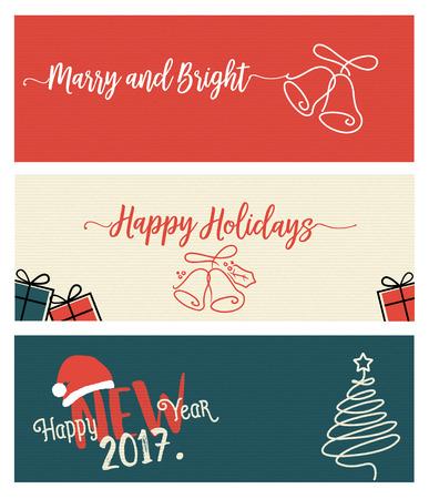 Set van Kerstmis en Nieuwjaar social media banners. Hand getrokken plat ontwerp vector illustraties voor website en mobiele banners, internet marketing, wenskaarten en drukwerk design. Stockfoto - 68632632