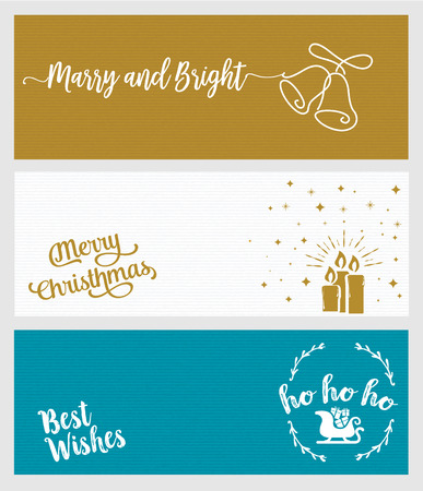 Set of Christmas and New Year social media banners. Hand drawn flat design vector illustrations for website and mobile banners, internet marketing, greeting cards and printed material design. Ilustração