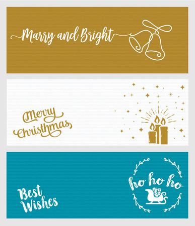 Set van Kerstmis en Nieuwjaar social media banners. Hand getrokken plat ontwerp vector illustraties voor website en mobiele banners, internet marketing, wenskaarten en drukwerk design. Stockfoto - 68632639