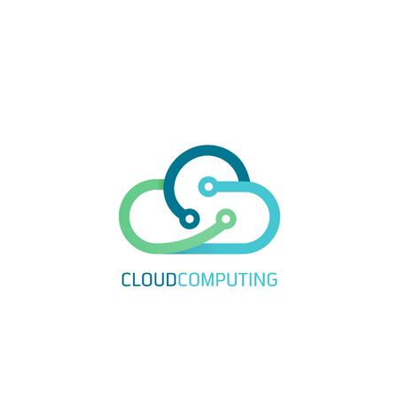 Platte lijn ontwerp webbanners voor cloud computing-diensten en technologie, data-opslag. Vector illustratie concepten voor webdesign, marketing en grafisch ontwerp.