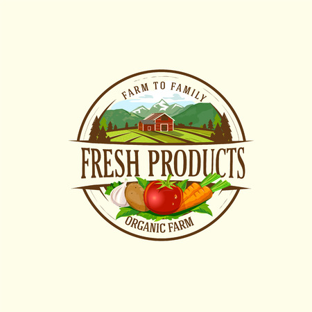Organic & farm-vector labels and elements       Organic & farm-vector labels and elements.Vector illustration of organic product for logo, banners and printed material. Ilustrace