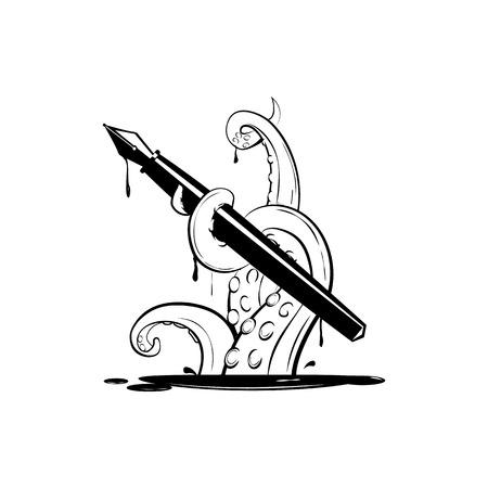 インクのペン、ロゴ、t シャツ プリントやシーフード マスコット ラベルのシルエット タコで巨大なクラーケン単純な商業、黒ベクトル イラスト
