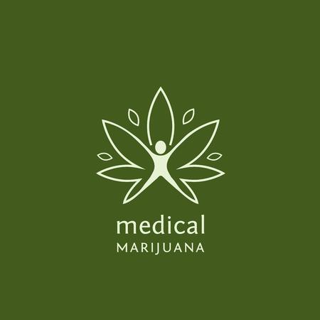 医療用マリファナのフラットのアウトラインのデザイン。Web デザイン、ラベル、ロゴのデザインのベクトル図概念。  イラスト・ベクター素材