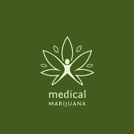 Disegno del profilo piatto della marijuana medica. Illustrazione vettoriale concetto per il web design, etichette, logo design. Archivio Fotografico - 68893464