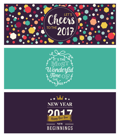 printed material: Set of Christmas and New Year social media banners. Hand drawn watercolor vector illustrations for website and mobile banners, internet marketing, greeting cards and printed material design.