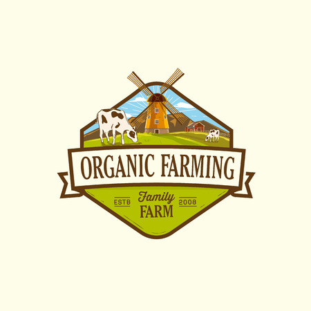 Organic & farm-vector labels and elements Illustration