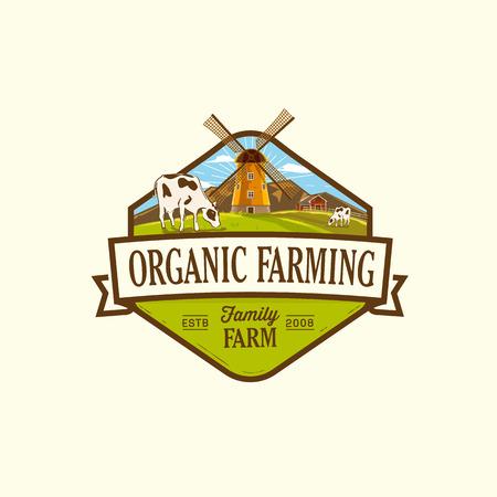 Organische en farm-vector labels en elementen Stock Illustratie