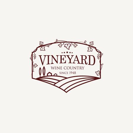ぶどう畑のフィールド、ヴィラ、木のある風景します。農村景観のアウトライン ベクトル イラスト。ワインのリスト、バーやレストランのメニュー
