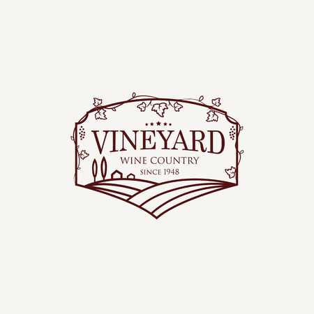 Landscape with vineyard fields, villa, trees. Outline vector illustration of rural landscape. Trendy concept for wine list, bar or restaurant menu, labels and package.
