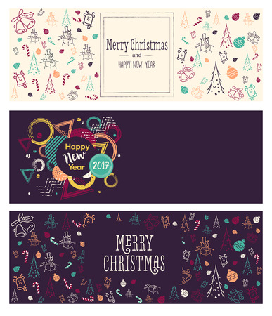 Set of Christmas and New Year social media banners. Hand drawn watercolor vector illustrations for website and mobile banners, internet marketing, greeting cards and printed material design.