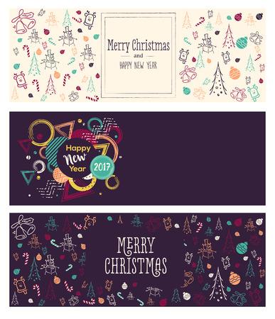 Set van Kerstmis en Nieuwjaar social media banners. Hand getekende aquarel vector illustraties voor de website en mobiele banners, internet marketing, wenskaarten en drukwerk design. Stock Illustratie