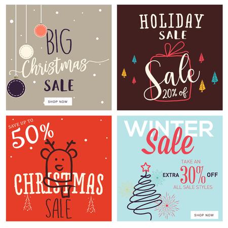 Set van Kerstmis en Nieuwjaar mobiele verkoop banners. Vector illustraties van online shopping website en mobiele website banners, posters, nieuwsbrief ontwerpen, advertenties, coupons, social media banners. Stockfoto - 68973327