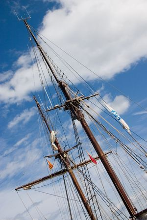 schooner: Main Mast of a schooner Stock Photo