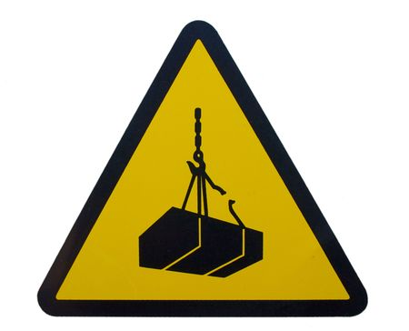 suspended: danger signal loads suspended Stock Photo