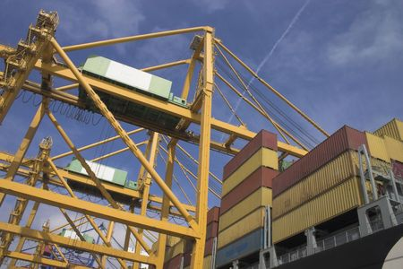 Gantry cranes and Container Ships photo