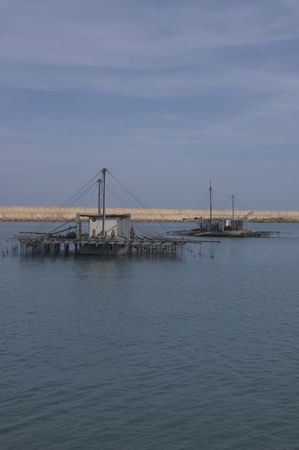 musandam: two farms of mussel in the sea