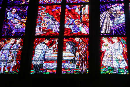Stained Glass Window in the Prague Cathedral photo