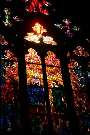 Stained Glass Window in the Prague Cathedral 2 photo