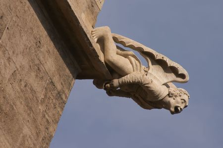 gremlin: gargoyle in the Silk Exchange, Gothic building