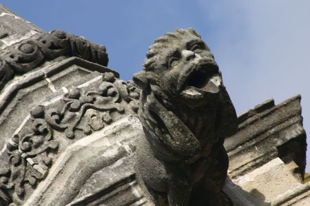 gargoyle: gargoyle in the sherry cathedral, Gothic building Stock Photo